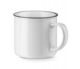 taza de 350 ml blanca con ribete negro para personalizar con logo