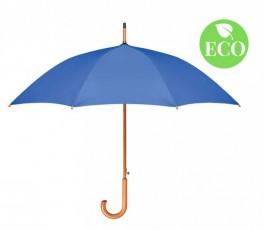Paraguas con tela RPET y mango de madera abierto color azul con sello ECO