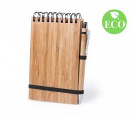 bloc en espiral con cubiertas de bambu con boligrafo y sello ECO