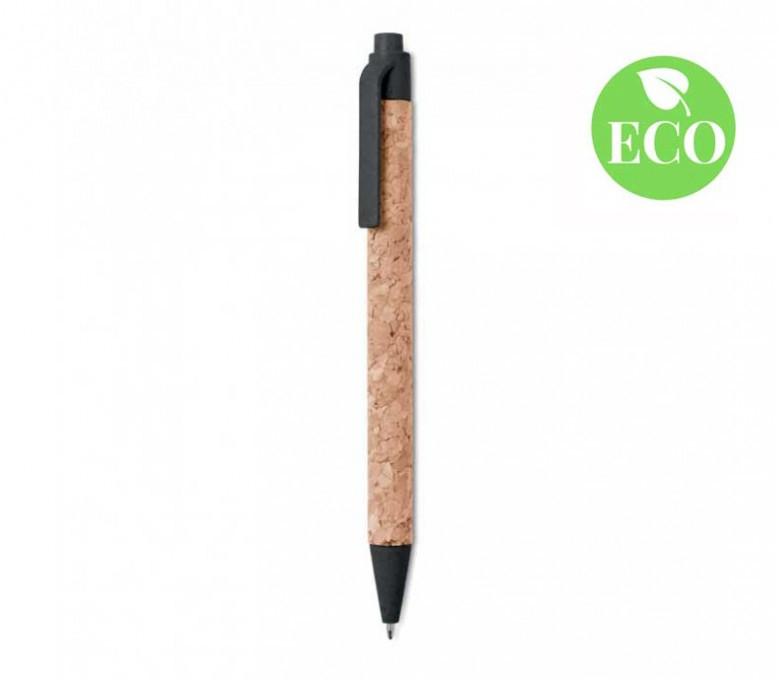 boligrafo de corcho con detalles de paja de trigo y PP de color negro con sello ECO