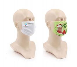 dos maniquies con mascarillas personalizadas por sublimacion