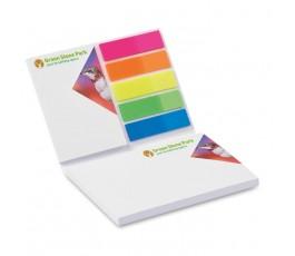 bloc de notas adhesivas publicitarias personalizo a todo color abierto en fondo blanco