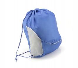 mochila de saco ancha bicolor de color gris y azul para personalizar con logo como regalo publicitario