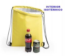 mochila de cuerdas nevera para personalizar como regalo publicitario con bebidas y texto