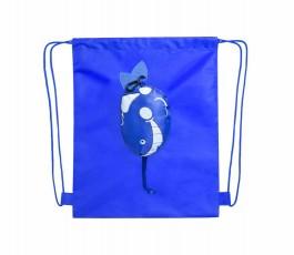 mochila de cuerdas infantil color azul abierta