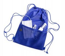 mochila de cuerdas con bolsillo exterior facil acceso con mascarilla y gel