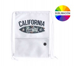 mochila de cuerdas con bolsillo exterior facil acceso color blanco para sublimacion