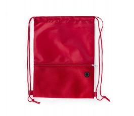 mochila de cuerdas con bolsillo exterior facil acceso color rojo
