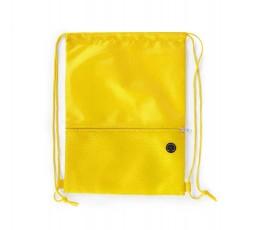 mochila de cuerdas con bolsillo exterior facil acceso color amarillo