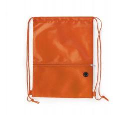 mochila de cuerdas con bolsillo exterior facil acceso color naranja