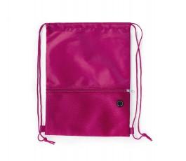 mochila de cuerdas con bolsillo exterior facil acceso color fucsia