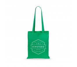 bolsa de algodon de asas largas color verde y personalizada con logo