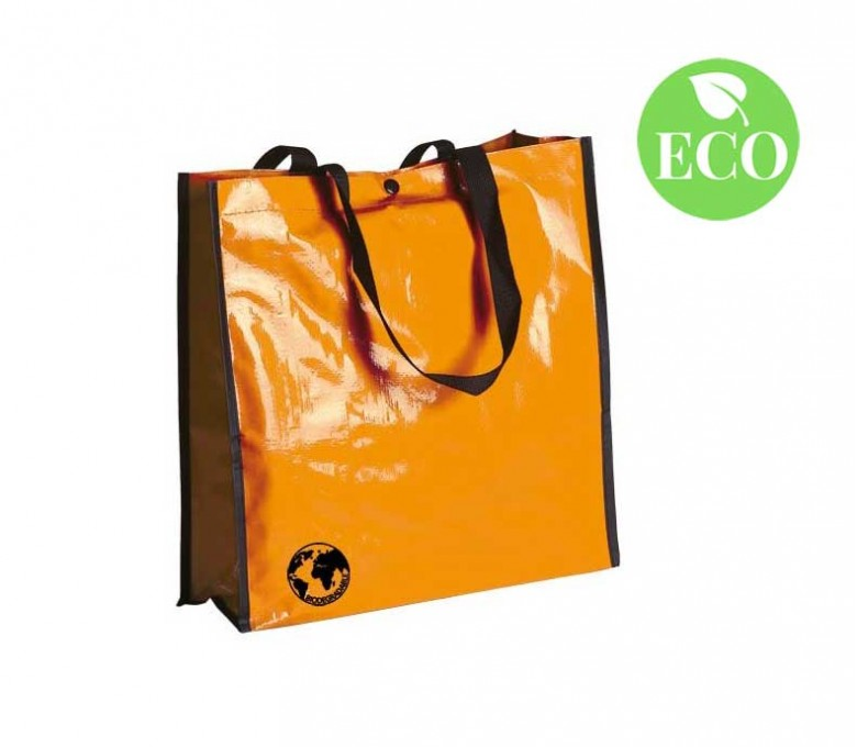 bolsa biodegradable color naranja y asas de color negro con sello ECO