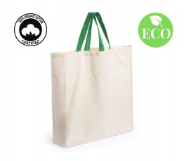 Bolsa algodon organico asas verdes con sello ECO y sello algodon