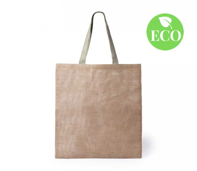 bolsa de yute con asas largas y sello ECO