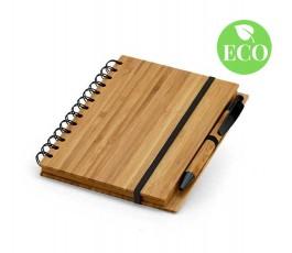 Libreta en espiral tapa de bambu con boligrafo y sello ECO