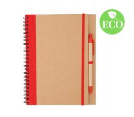 libreta de carton reciclado con boligrafo y detalles de color rojo
