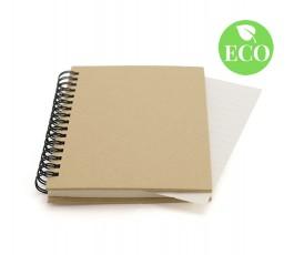 libreta de carton reciclado con anillas color natural y sello ECO