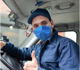 conductor con mascarilla personalizada por sublimacion