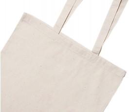 detalle de bolsa de algodon de alto gramaje con asas largas