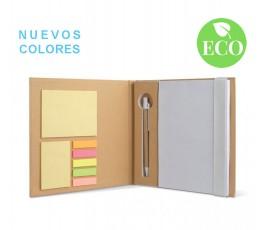 set de papeleria de carton reciclado abierto con sello ECO