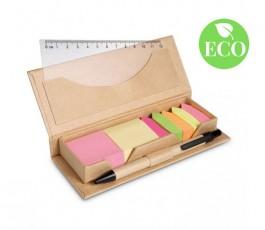 Set de oficina de carton reciclado con notas adhesivas, regla y boligrafo con sello ECO