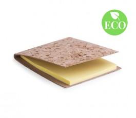 bloc de notas adhesivas con tapas de corcho y sello ECO