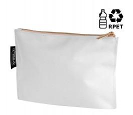 neceser publicitario RPET color blanco con etiqueta y sello RPET