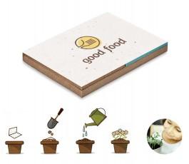 bloc de notas con semillas y dibujo de uso del producto