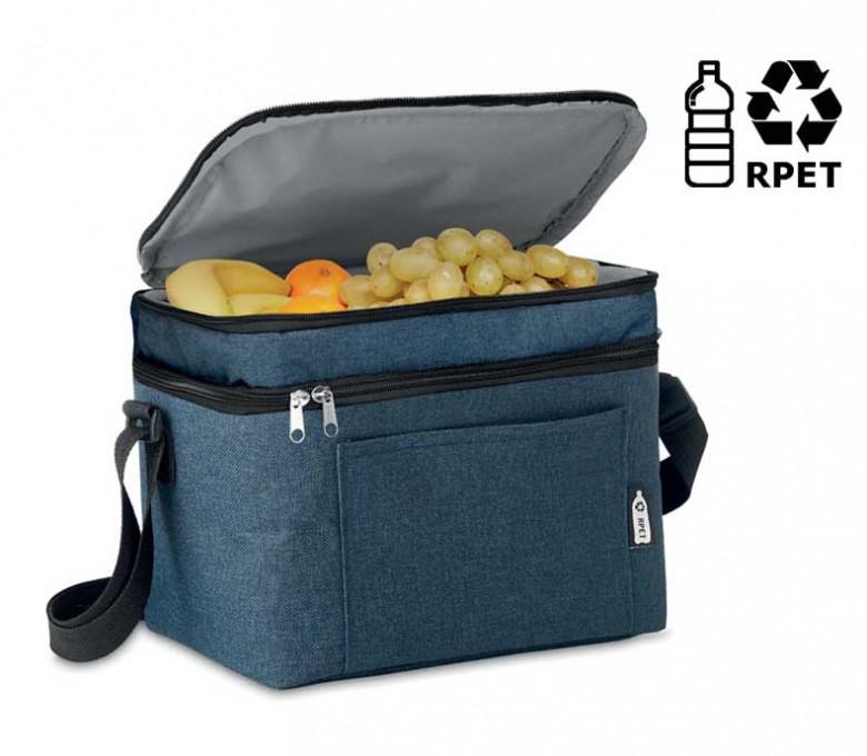 nevera de RPET modelo C6150 color azul con la parte superior abierta y sello RPET