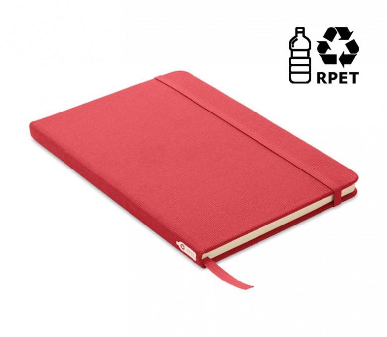 libreta tipo moleskine de RPET color rojo con sello RPET