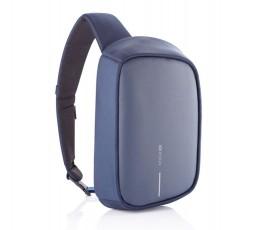 mochila publicitaria antirrobo y proteccion RFID color azul