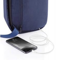 mochila publicitaria antirrobo y proteccion RFID con movil conectado
