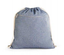 mochila de cuerdas de algodon reciclado modelo ZS92928 color azul