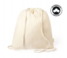 mochila de algodon organico modelo A6390 color natural con sello