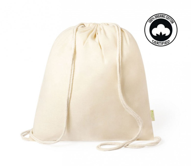 mochila de algodon organico modelo A6390 color natural con sello