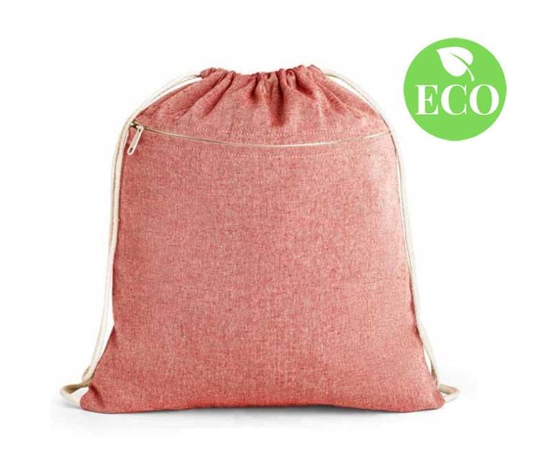 mochila de cuerdas de algodon reciclado modelo ZS92928 color rojo con sello ECO