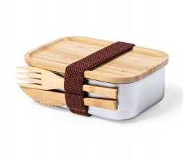 fiambrera de acero inoxidable y tapa de bambú con cubiertos en el lateral