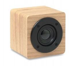 altavoz bluetooth con amplificador color madera claro para personalizar con logo