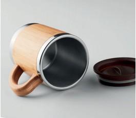 interior de la taza personalizada de doble capa y cuerpo de bambú