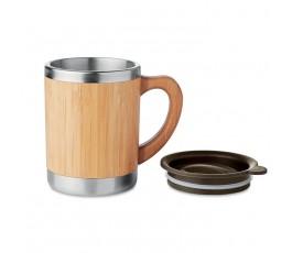 taza personalizada de doble capa y cuerpo de bambú con la tapa separada
