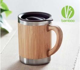 taza personalizada de doble capa y cuerpo de bambú con sello Bamboo