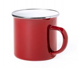 taza personalizada vintage metalica color rojo en fondo blanco