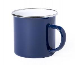 taza personalizada vintage metalica color azul en fondo blanco