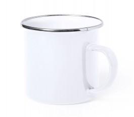 taza personalizada vintage metalica color blanco en fondo blanco