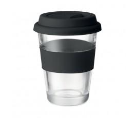 vaso de cristal con tapa y franja de silicona color negro en fondo blanco