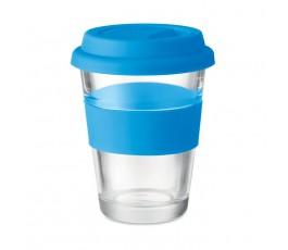 vaso de cristal con tapa y franja de silicona color azul en fondo blanco