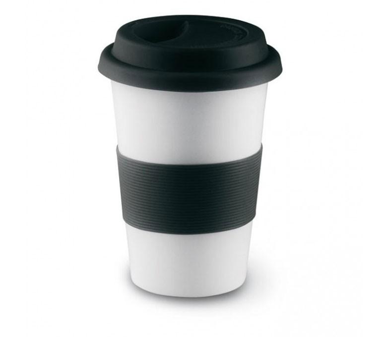 taza de ceramica blanca con franja y tapa de silicona de color negro