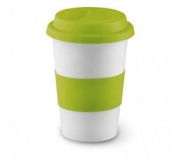taza de ceramica blanca con franja y tapa de silicona de color verde claro