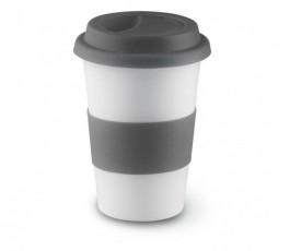 taza de ceramica blanca con franja y tapa de silicona de color gris